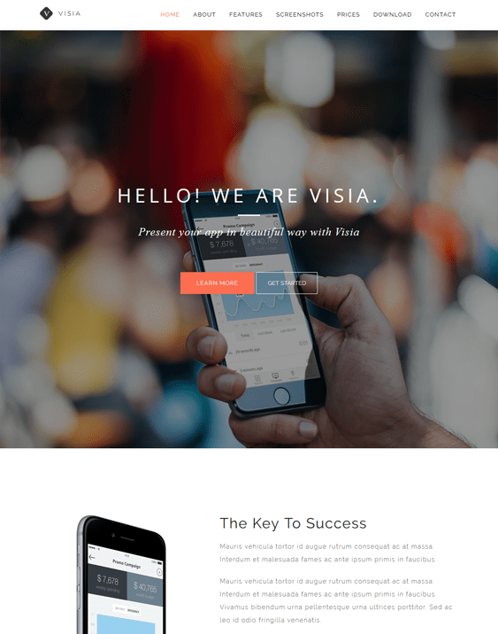 visia wordpress themes promoting apps