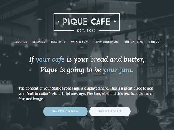 free pique restaurant wordpress themes