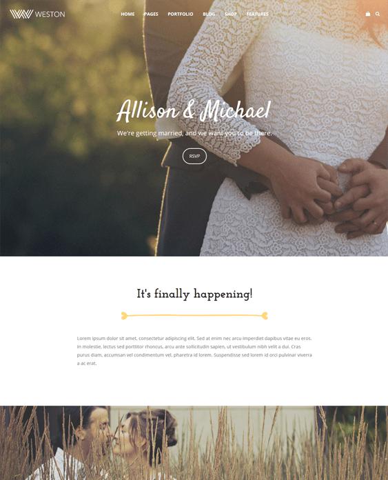 weston wedding wordpress themes