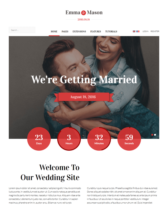 emma and mason wedding joomla templates
