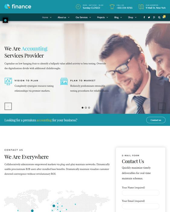 finance wordpress themes accountants accounting firms