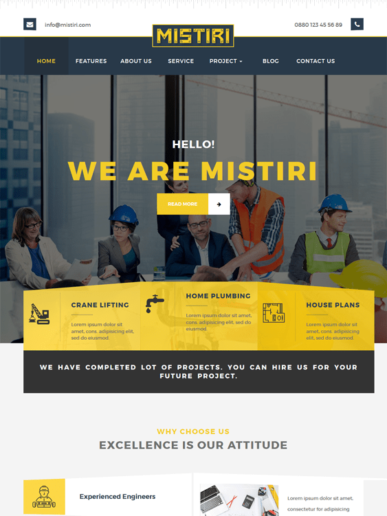 mistiri construction wordpress themes