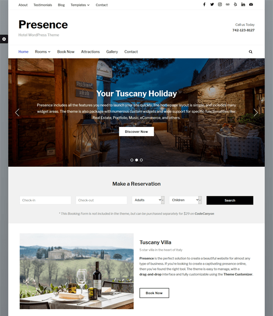 presence hotel wordpress themes