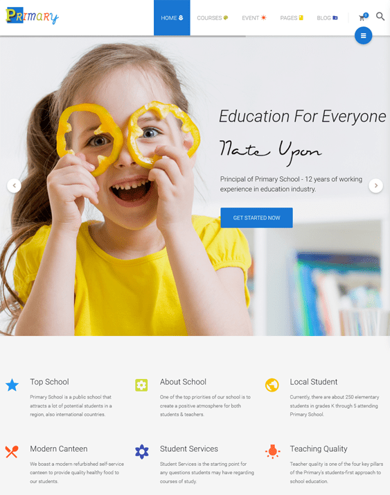 primary education wordpress themes