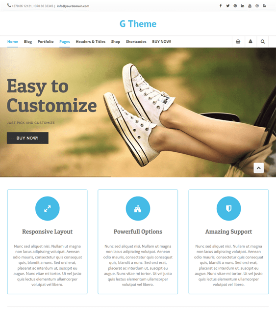 g theme landing page wordpress themes
