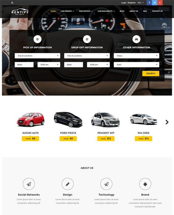 rentify WordPress Theme car vehicle automotive