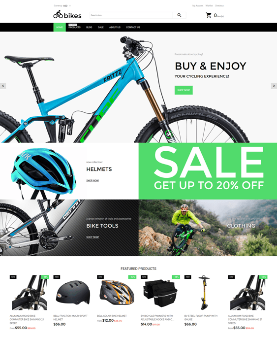 bike sports fitness shopify themes