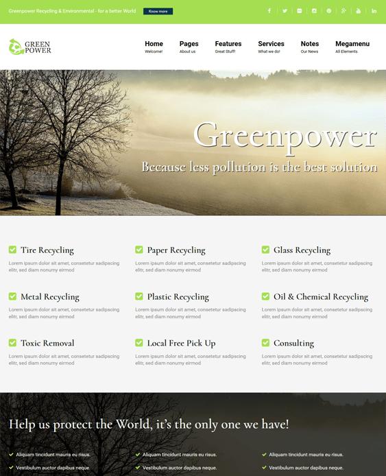 greenpower green organic eco friendly wordpress themes