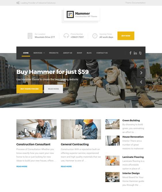hammer wordpress themes construction companies building contractors