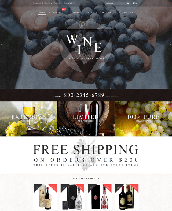 wine responsive shopify themes 2017