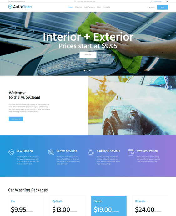 autoclean car wash wordpress themes