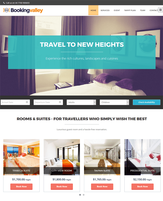 bookingvalley hotel wordpress themes
