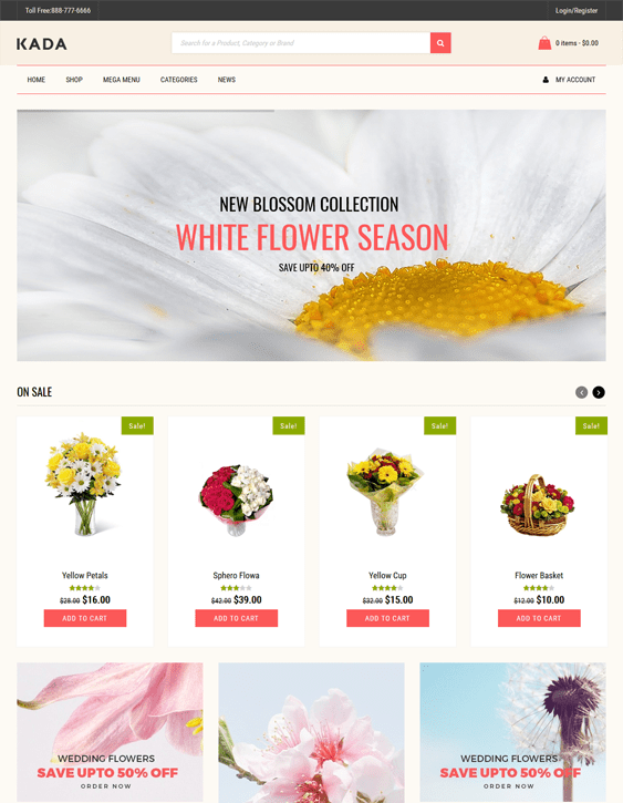 kada florists flower shops wordpress themes