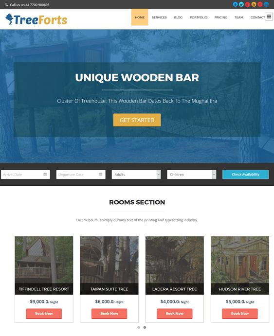 tree forts hotel wordpress themes