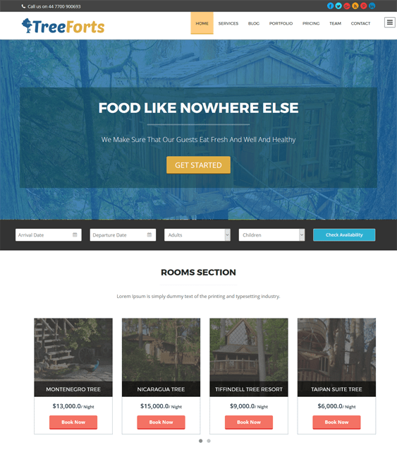 tree forts hotel wordpress themes