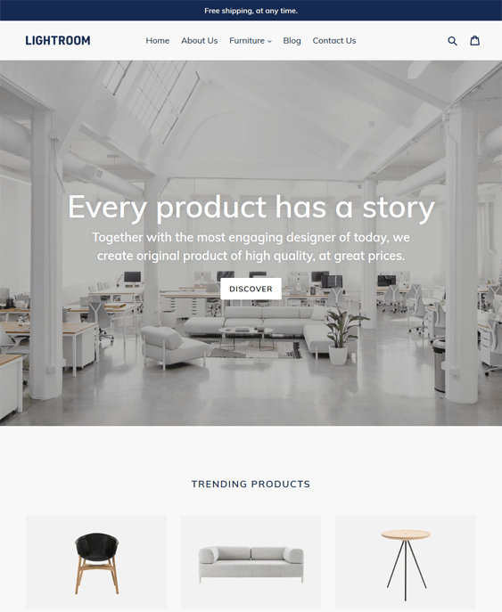 debut free shopify themes furniture homewares