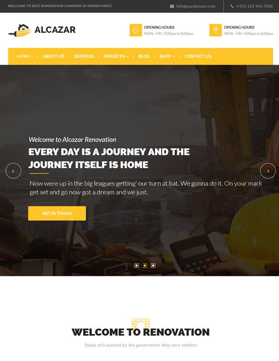 alcazar contractor construction companies wordpress themes