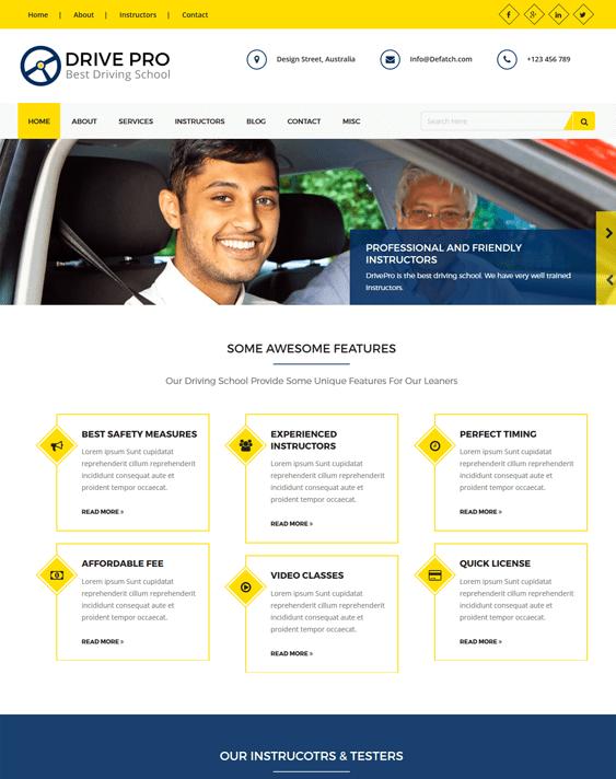 drivepro car, vehicle, and automotive WordPress theme