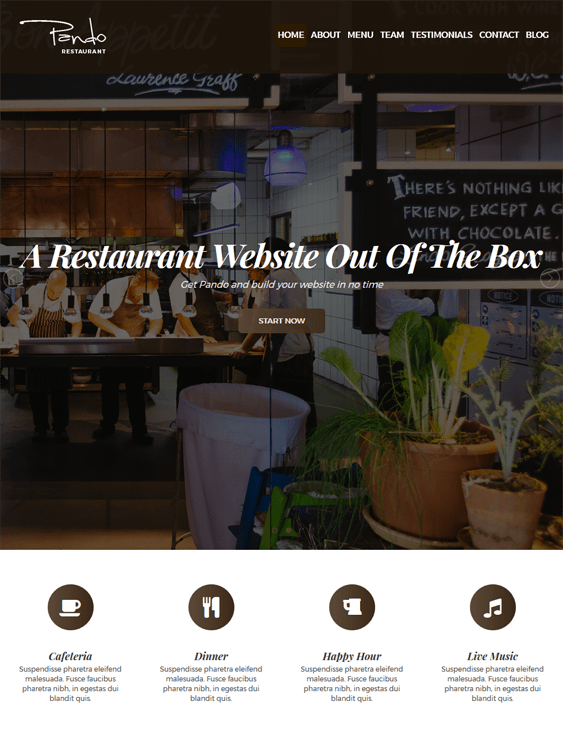 pando restaurant wordpress themes