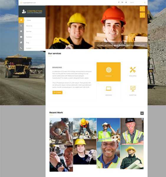 wisey contractor construction companies wordpress themes