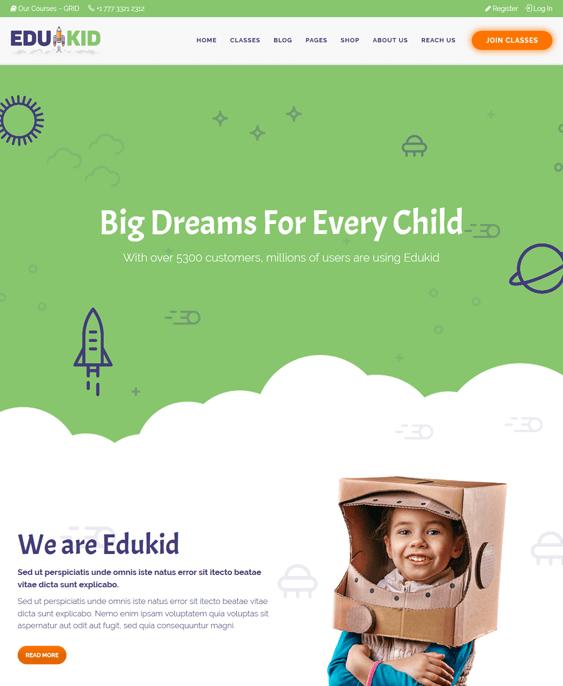 edukid education wordpress themes