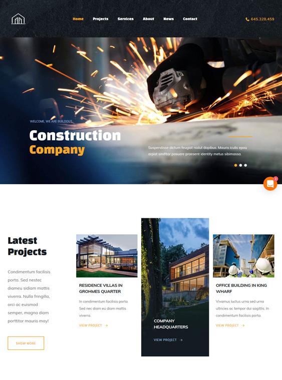 buildout wordpress themes construction companies building contractors