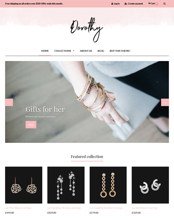 dorothy jewelry store shopify themes