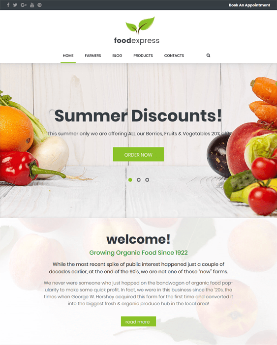 food express farm agriculture wordpress themes