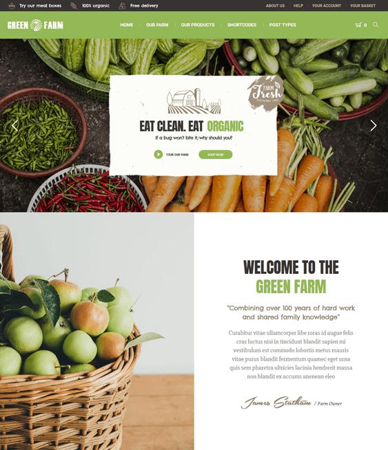 green farm organic ecofriendly wordpress themes