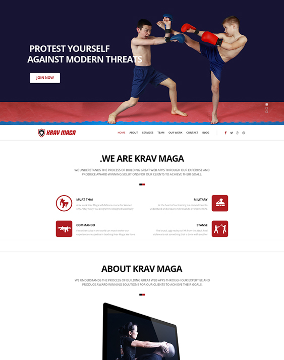 krav maga fitness wordpress themes