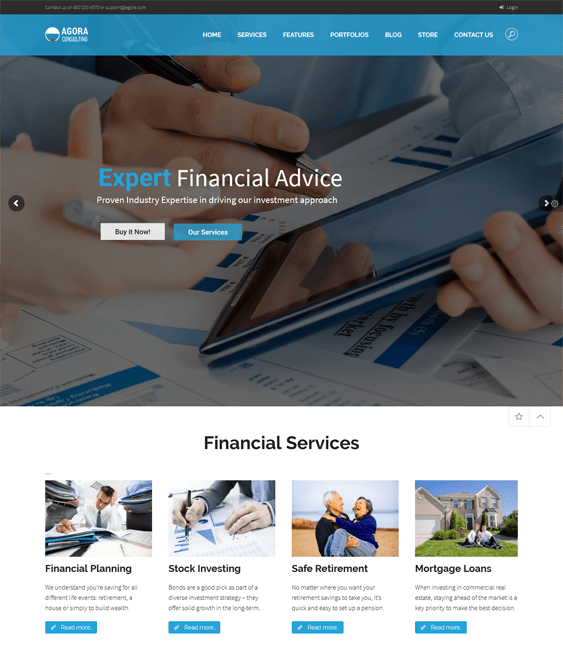 agora finance-wordpress-theme