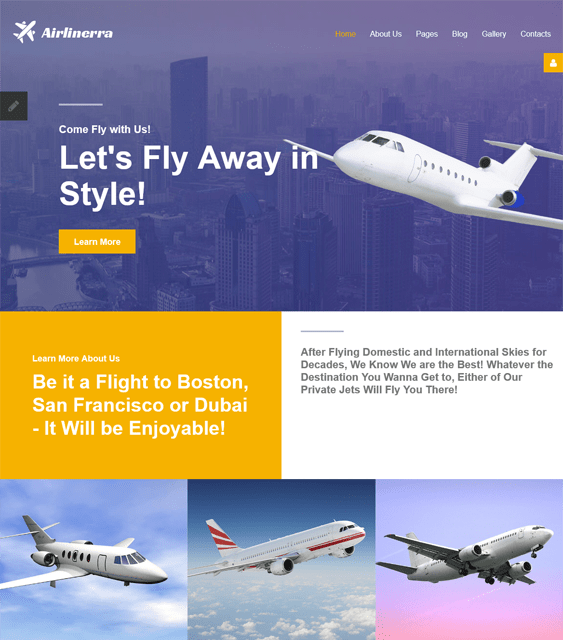 airlinerra transportation joomla templates