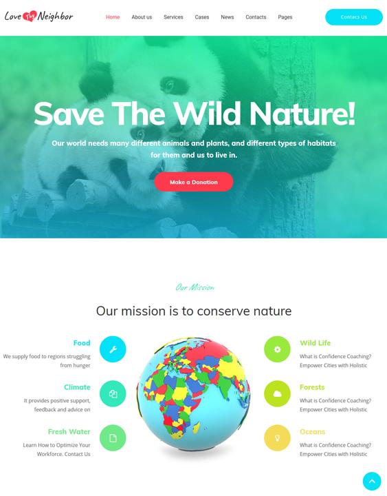 love thy neighbor wildlife park charity wordpress themes