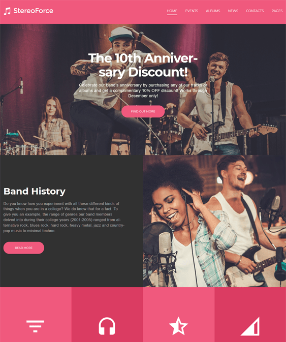 band music WordPress theme