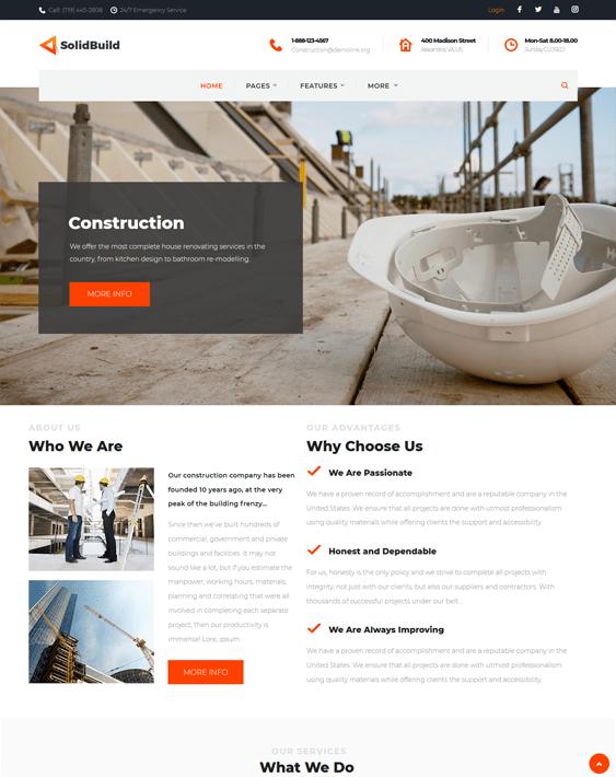solidbuild construction company building contractor wordpress themes