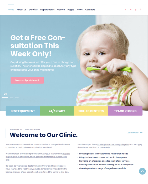 tooth fairy pediatricians pediatric clinics wordpress themes