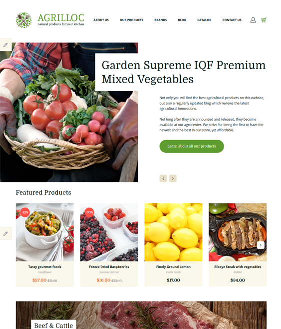 agrilloc food drink restaurant opencart themes