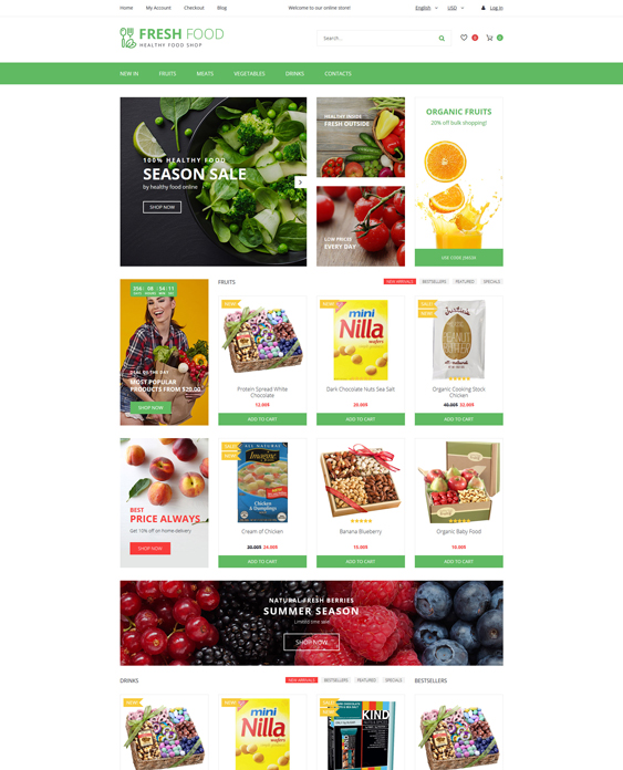 Fresh Food - Healthy & Organic Store food drink restaurant opencart themes Template