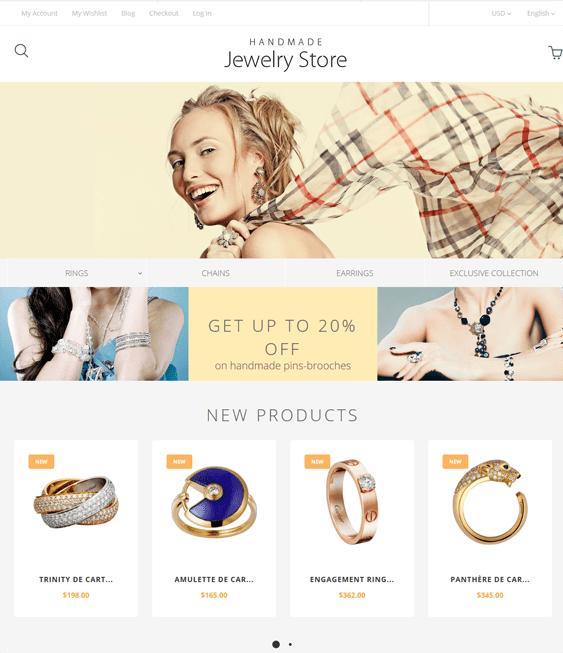 handmade magento themes jewelry stores