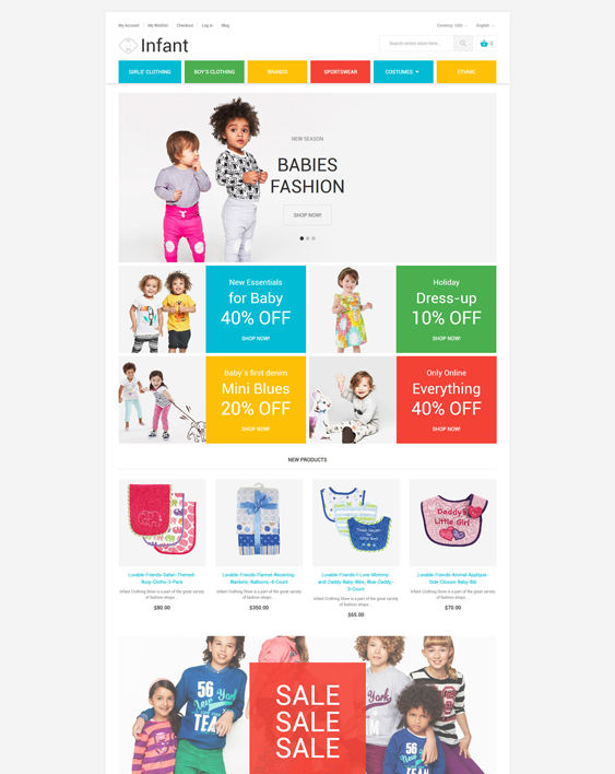 Infant baby kids children Magento Themes