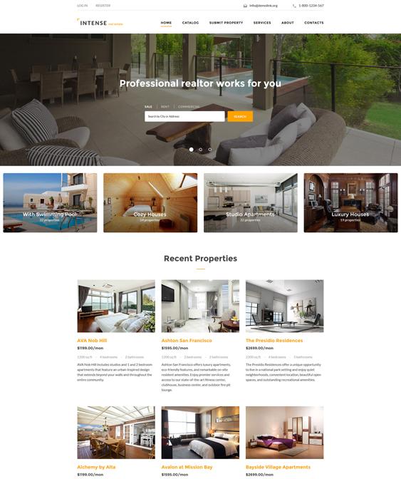 INTENSE real estate bootstrap website templates