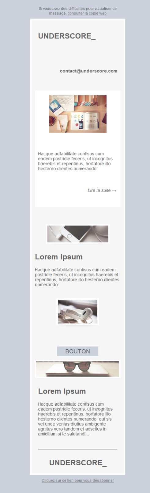 Free email templates - Download design Underscore - underscore template