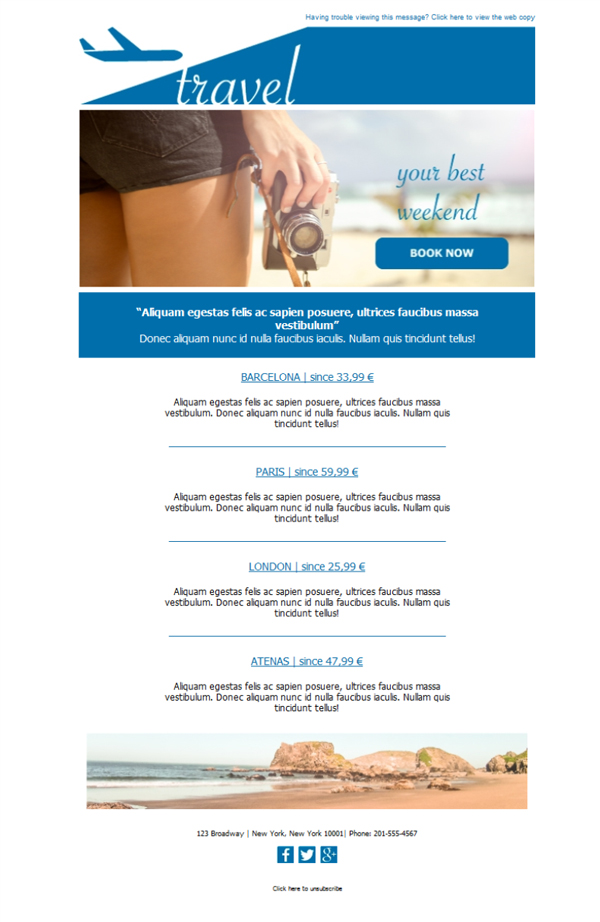 Free email templates - Download design Travel Agency Newsletter