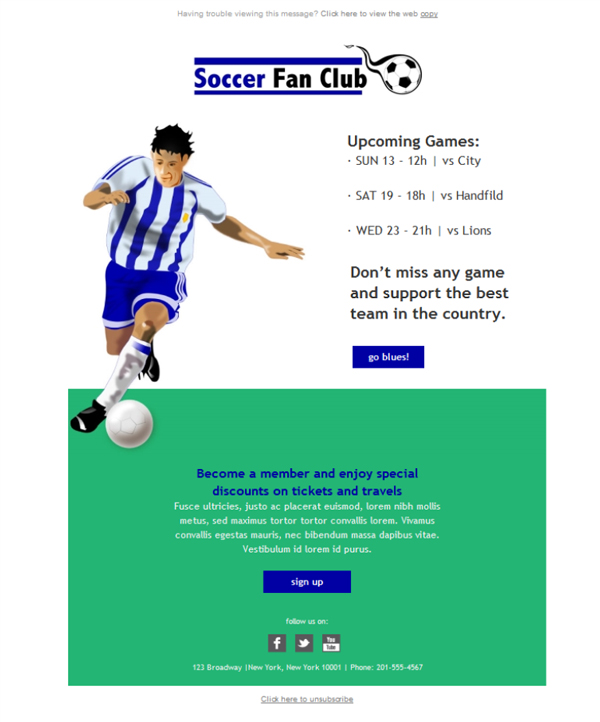 Free email templates - Download design Soccer Fan Club