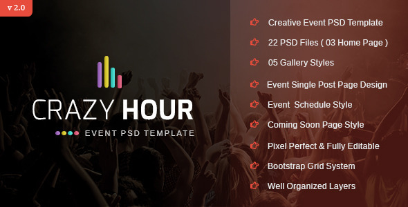 Crazy Hour - Event Management PSD Template by stillidea ThemeForest - event management template