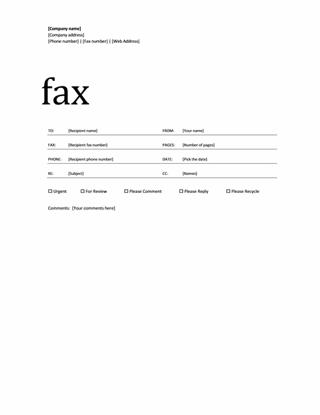 Fax Cover Sheet Template Microsoft Word 2007 - Template