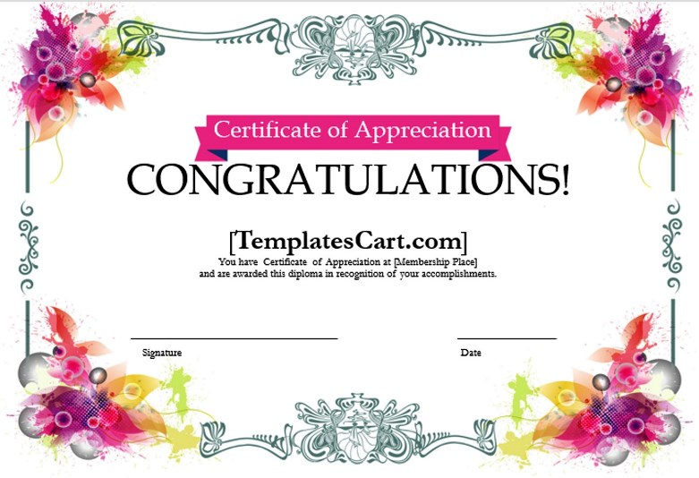 Certificate Of Appreciation Templates Design In Ms Word Template For