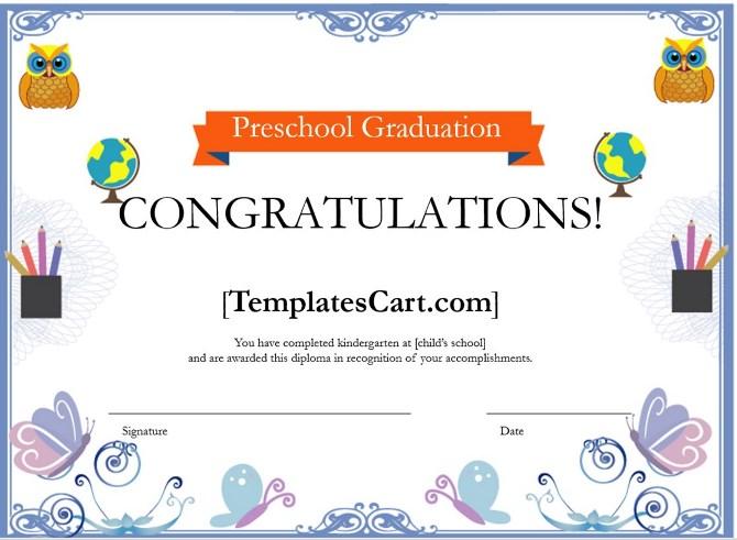 Download Preschool Graduation Certificate Borders Template Template - graduation border templates free