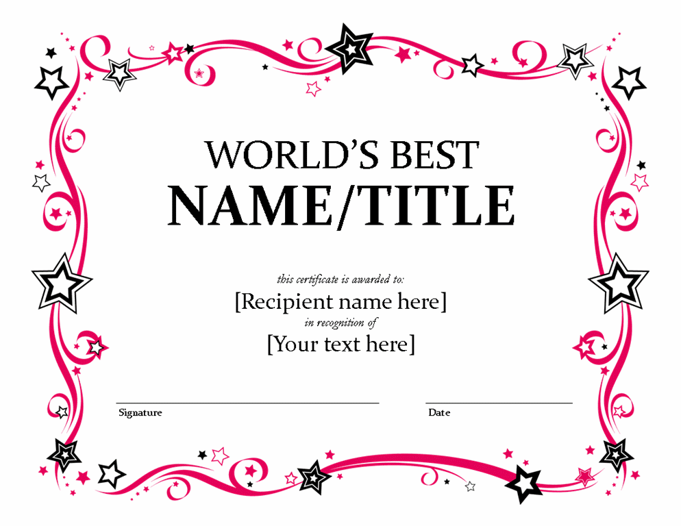 Certificate templates for best dad career change resume objective certificate templates for best dad yadclub Images
