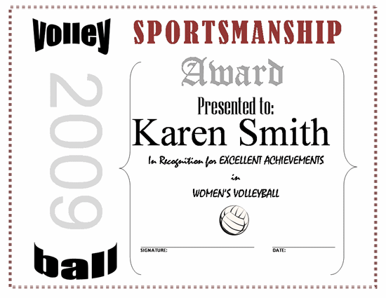 Volleyball certificate templates costumepartyrun 27 images of volleyball awards template linkcabincom yelopaper Choice Image